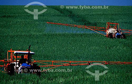 Cultivo mecanizado em plantação de trigo - RS - Brasil / Data: 2004