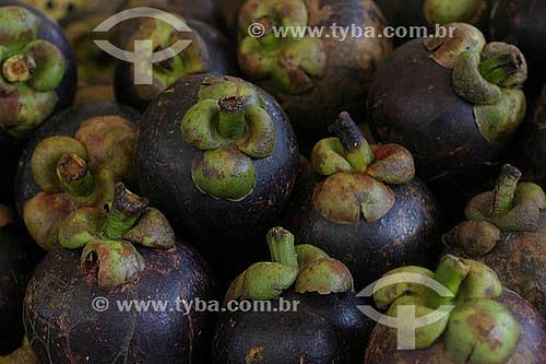 (Garcinia mangostana) Fruta - Mangustão exposto no Mercado Ver-O-Peso - Belém - Pará - Brasil - 2004  - Belém - Pará - Brasil