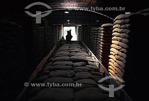 Grãos de café armazenados em sacos para exportação - Marília - SP - Brasil  - Marília - São Paulo - Brasil