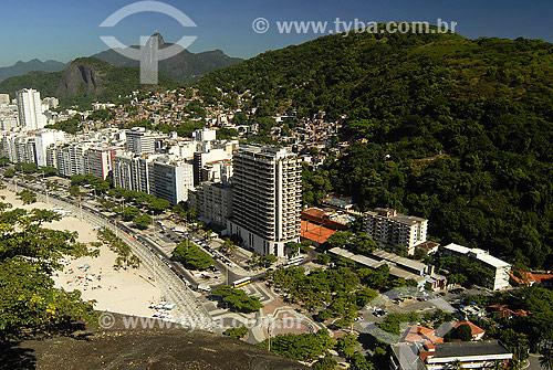 Bairro do Leme - Praça Julio de Noronha - Morros do Chapeu Mangueira e da Babilônia - Cristo redentor ao fundo e APA do Leme ao fundo e a direita / Data: 2007