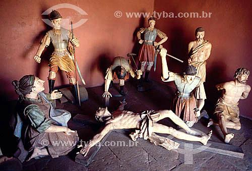 Santuário de Bom Jesus de Matosinhos - Capela - Esculturas de Aleijadinho (Antônio Francisco Lisboa) - Congonhas do Campo - MG - Brasil  - Congonhas - Minas Gerais - Brasil