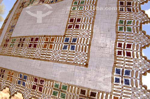 Detalhe de toalha bordada - Ilha do Ferro - Rio São Francisco  - Pão de Açúcar - Alagoas (AL) - Brasil