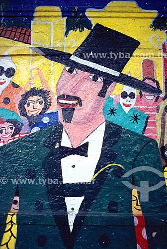 Arte popular - Mural com figura de homem de cartola  - Olinda - Pernambuco - Brasil