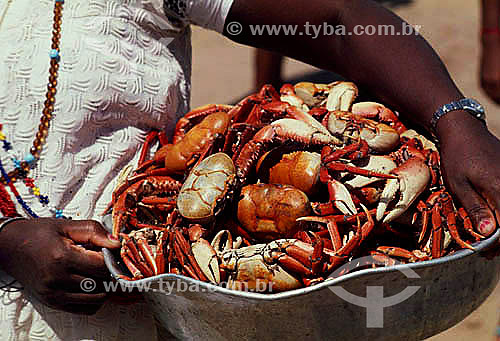 Detalhe de braços de mulher carregando recipiente cheio de caranguejos