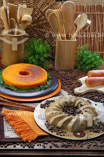 Culinária - pudim de cenoura e mousse (