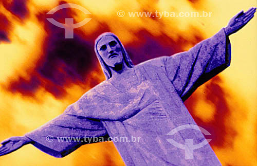 Efeito visual: Cristo Redentor - RJ - RJ - Brasil  - Rio de Janeiro - Brasil