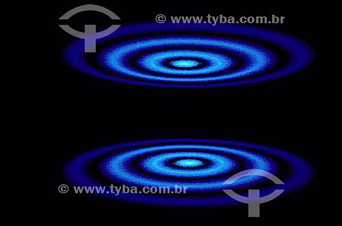 Efeito de computador: esferas concêntricas de luz azul