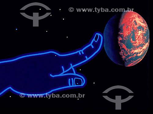 Computação gráfica - mão tocando em planeta