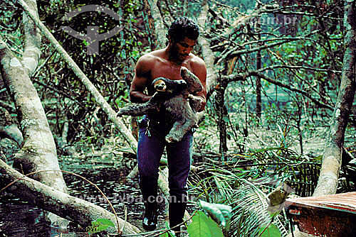 Ambiental  - Homem resgatando animal (preguiça) na inundação da construção da Hidroelétrica Balbina - AM - Brasil  - Presidente Figueiredo - Amazonas - Brasil
