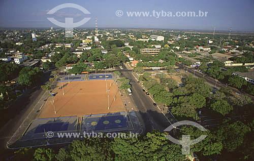 Imagem aérea da praça Barão do Rio Branco - centro da cidade de Macapá - AP - março de 2000.  - Macapá - Amapá - Brasil