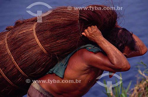 Homem carregando piaçaba, fibra usada na fabricação de vassouras - Barcelos, antiga capital do Estado do Amazonas - AM - Brasil  - Barcelos - Amazonas - Brasil