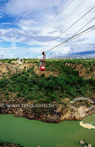 Teleférico da CHESF (Companhia Hidrelétrica do São Francisco) sobre o Rio São Francisco - Parque das Usinas - Paulo Afonso - BA - Brasil  - Paulo Afonso - Bahia - Brasil