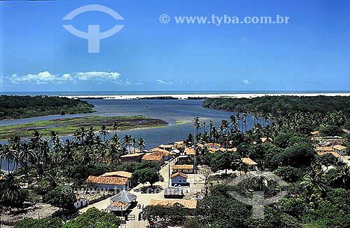 Vista do farol de Mandacarú , vilarejo de Caburé, às margens do Rio Preguiças - Barreirinhas - Maranhão - Brasil Agosto 2004  - Barreirinha - Maranhão - Brasil