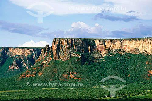 Bacia Sedimentar de arenito - Parque Nacional da Chapada dos Guimarães - MT - Brasil  - Chapada dos Guimarães - Mato Grosso - Brasil