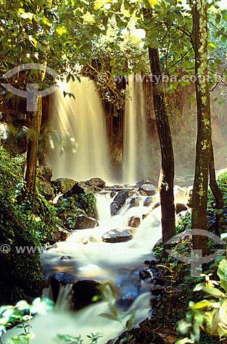 Cachoeira no Parque Nacional da Chapada dos Guimarães - MT - Brasil  - Chapada dos Guimarães - Mato Grosso - Brasil