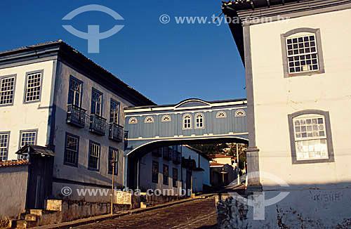 Passadiço que une as duas edificações do Colégio da Glória - Diamantina  - MG - Brasil A cidade é Patrimônio Mundial pela UNESCO desde 1999.  - Diamantina - Minas Gerais - Brasil