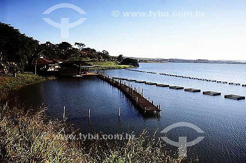 No lago da represa de Furnas, criação de Tilápias em cativeiro - Boa esperança – Minas Gerais - Brasil - Julho 2004  - Boa Esperança - Minas Gerais - Brasil