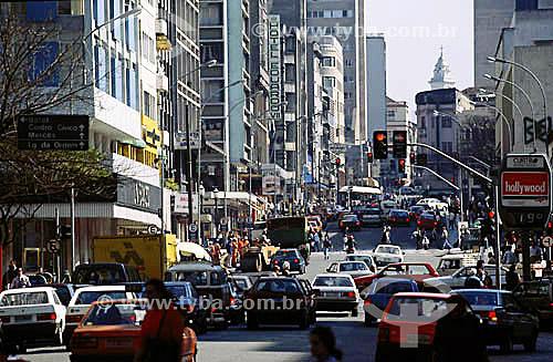 Trânsito Rua Marechal Floriano Peixoto na hora do rush - Curitiba - Paraná - Brasil  - Curitiba - Paraná - Brasil
