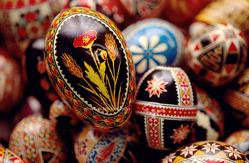 Ovos pintados por descendentes de ucrânianos para a Páscoa -  Paraná - Brasil  - Paraná - Brasil