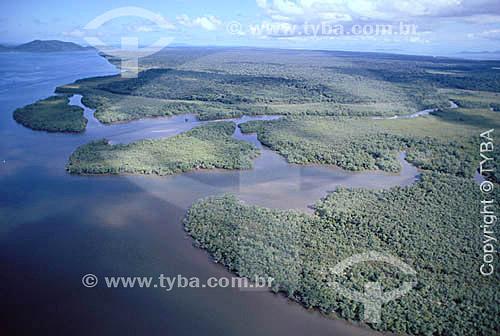 Vista da Ilha de Superagüi  - PR - Brasil / Data: 1996  O trecho da Mata Atlântica que inicia-se na Serra da Juréia, em Iguape/SP e vai até à Ilha do Mel, em Paranaguá/PR é Patrimônio Mundial Natural da UNESCO desde 1999.
