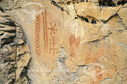 Pinturas rupestres - Parque Nacional de Sete Cidades - Piauí  - Brasil - Fevereiro 2006  - Piauí - Brasil