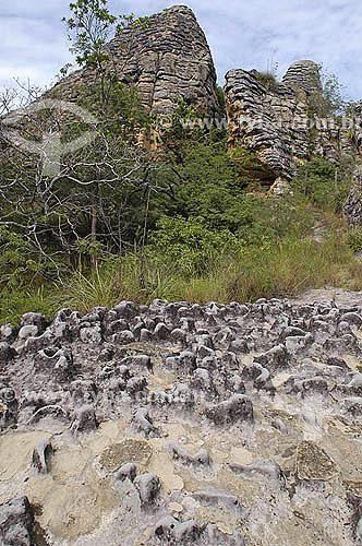 Formações rochosas - Parque Nacional de Sete Cidades - Piauí - Brasil - Fevereiro 2006  - Piauí - Brasil