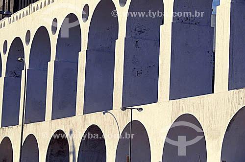 Arcos da Lapa - Rio de Janeiro - RJ - Brasil  Aqueduto em estilo romano do século XVIII (Rio colonial), com uma dupla arcada de 42 arcos. Patrimônio Histórico Nacional desde 05-04-1938.  - Rio de Janeiro - Rio de Janeiro - Brasil