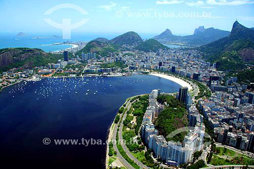 Vista aérea da Enseada de Botafogo com Morro da Viúva em primeiro plano e Zona Sul ao fundo - Rio de Janeiro - RJ - Brasil - Novembro de 2006  - Rio de Janeiro - Rio de Janeiro - Brasil