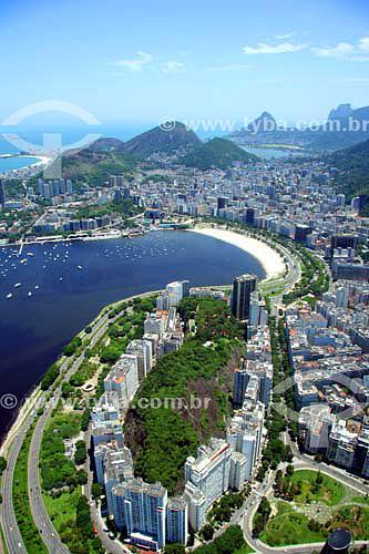 Vista aérea da Enseada de Botafogo com Morro da Viúva em primeiro plano e Zona Sul ao fundo - Rio de Janeiro - RJ - Brasol - Novembro de 2006  - Rio de Janeiro - Rio de Janeiro - Brasil