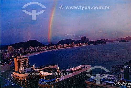 Arco-íris sobre a Praia de Copacabana - Rio de Janeiro - RJ - Brasil  - Rio de Janeiro - Rio de Janeiro - Brasil