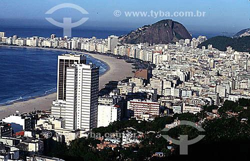 Vista aérea dos prédios de Copacabana com o Oceano Atlântico ao fundo - Rio de Janeiro - RJ - Brasil  - Rio de Janeiro - Rio de Janeiro - Brasil