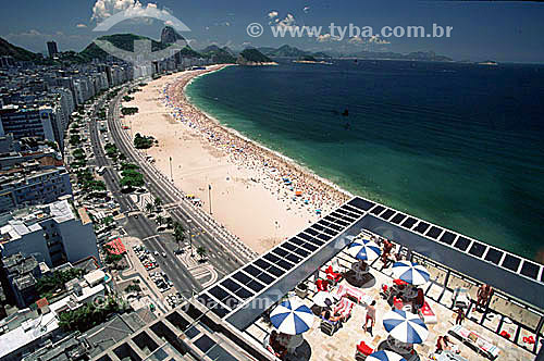 Vista aérea dos prédios de Copacabana com Pão de Açúcar ao fundo - Rio de Janeiro - Brasil - Rio de Janeiro - RJ - Brasil  - Rio de Janeiro - Rio de Janeiro - Brasil