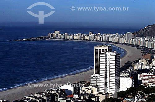 Vista aérea dos prédios de Copacabana com o Forte de Copacabana adentrando o Oceano Atlântico à esquerda - Rio de Janeiro - RJ - Brasil  - Rio de Janeiro - Rio de Janeiro - Brasil