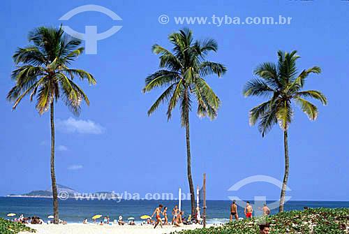 Três coqueiros e pessoas na praia de Ipanema - Rio de Janeiro - RJ - Brasil  - Rio de Janeiro - Rio de Janeiro - Brasil