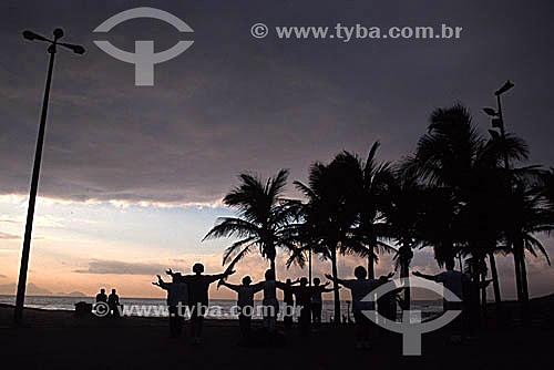 Silhueta de grupo praticando Tai Chi Chuan no Arpoador ao amanhecer com palmeiras à direita - Rio de Janeiro - RJ - Brasil  - Rio de Janeiro - Rio de Janeiro - Brasil