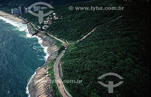 Vista aérea da Av. Niemeyer com parte da Praia de São Conrado na parte superior da foto - Rio de Janeiro - RJ - Brasil  - Rio de Janeiro - Rio de Janeiro - Brasil