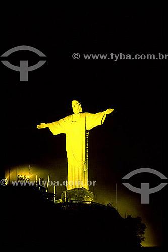 Iluminação noturna do Cristo Redentor - Rio de Janeiro - RJ - Brasil  - Rio de Janeiro - Rio de Janeiro - Brasil