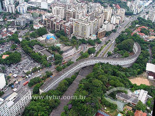 Vista aérea do Minhocão e do Planatário da Gávea - Rio de Janeiro - RJ - Brasil - Julho 2005  - Rio de Janeiro - Rio de Janeiro - Brasil