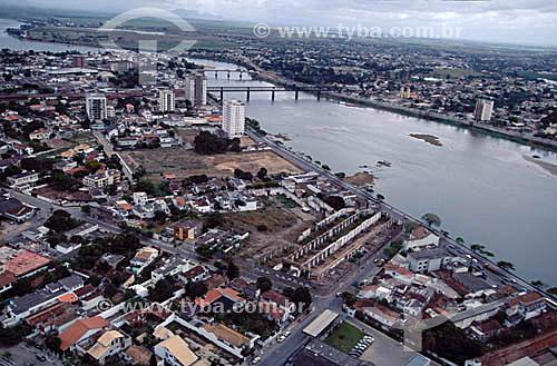 Visão aérea da cidade de Campos com Rio Paraíba do Sul - RJ - Brasil  - Campos dos Goytacazes - Rio de Janeiro - Brasil
