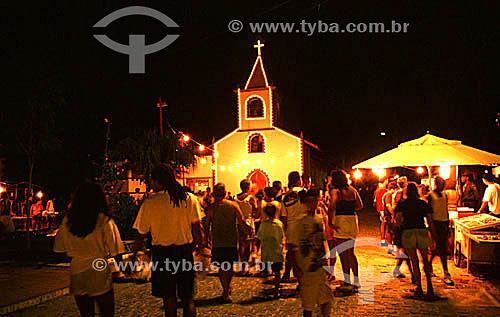 Vila Abraão iluminada à noite - Ilha Grande - Baía de Angra dos Reis - Costa Verde - RJ - Brasil / Data: 2008