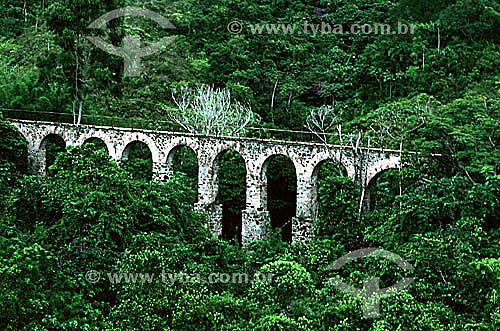 Vista aérea do Aqueduto do Lazareto, construído no século 19 para  levar água ao antigo centro de quarentena - Ilha Grande - APA dos Tamoios - Baía de Angra dos Reis - Costa Verde - RJ - Brasil  - Angra dos Reis - Rio de Janeiro - Brasil