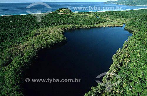 Vista aérea da Reserva Biológica Estadual da Praia do Sul com o canal que liga as águas do mar e das lagoas - Ilha Grande - APA dos Tamoios - Baía de Angra dos Reis - Costa Verde - RJ - Brasil  - Angra dos Reis - Rio de Janeiro - Brasil
