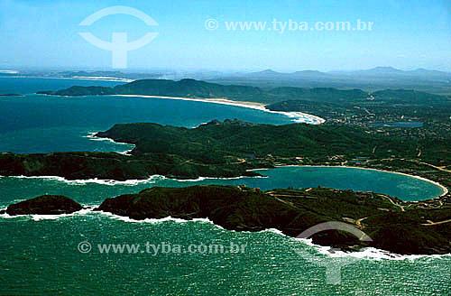 Vista aérea da Praia da Ferradura em primeiro plano, seguida da Praia de Geribá - Búzios - Costa do Sol - Região dos Lagos - RJ - Brasil / Data: 2008