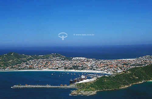 Vista aérea das praias do Forno e dos Anjos - Arraial do Cabo - Região dos Lagos - Litoral norte do Rio de Janeiro - Brasil  - Cabo Frio - Rio de Janeiro - Brasil