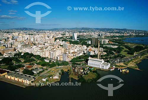 Centro de Porto Alegre com Usina do Gasômetro a frente - Delta do Rio Jacuí - Guaíba - RS - Brasil - 04/2003  - Porto Alegre - Rio Grande do Sul - Brasil