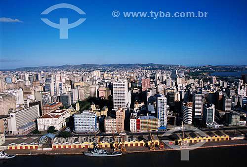 Aérea do centro de Porto Alegre com porto a frente - Delta do Rio Jacuí - RS - Brasil  - Porto Alegre - Rio Grande do Sul - Brasil