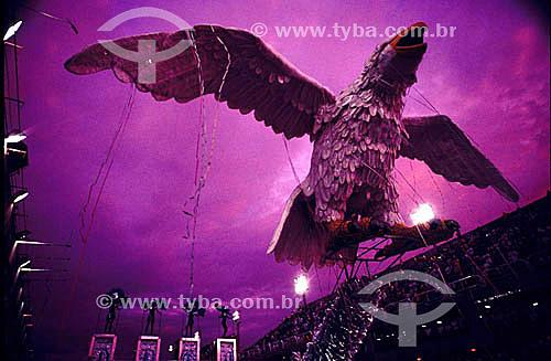 Tradicional águia da Escola de Samba Portela - Desfile de carnaval na Marquês de Sapucaí - Sambódromo - Rio de Janeiro - RJ - Brasil  - Rio de Janeiro - Rio de Janeiro - Brasil