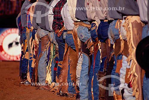 Vaqueiros com suas roupas típicas na Festa do Peão Boiadeiro - Rodeio - Barretos - SP - Brasil  - Barretos - São Paulo - Brasil