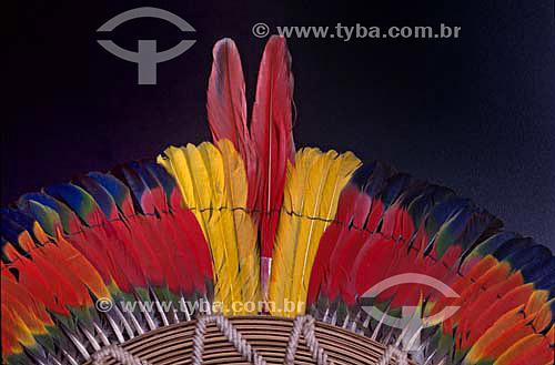 Arte plumária indígena Kaiapó originária do sul do Pará - Brasil  - Pará - Brasil