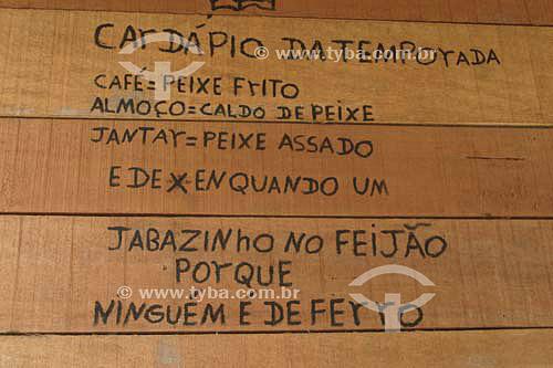 Cárdapio de restaurante escrito na parede - Rondônia - RO - Brasil  - Rondônia - Brasil